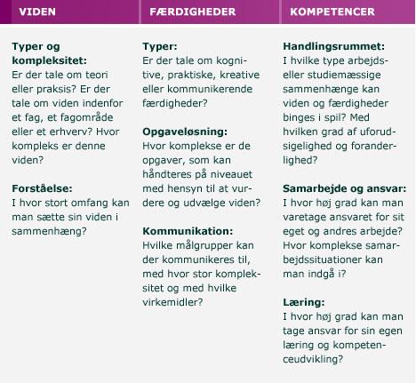 Beskrivelse af niveausystematikken
