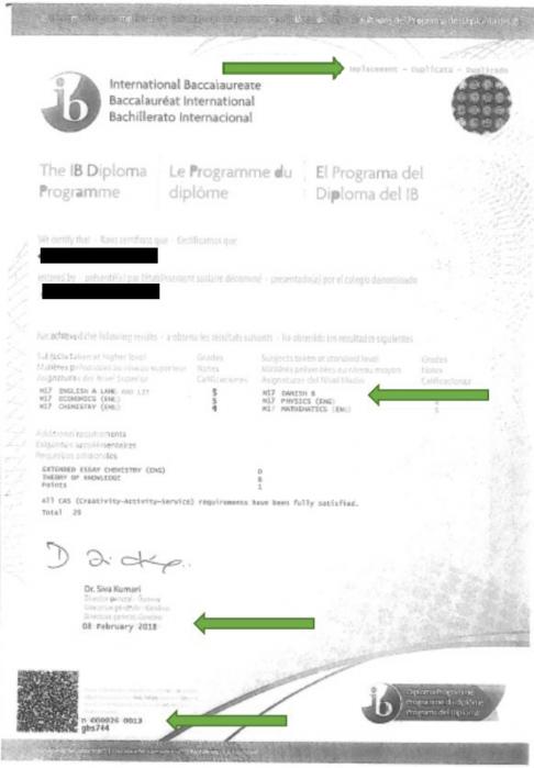 Officielt dokument IB Diploma og IB Diploma Programme Results