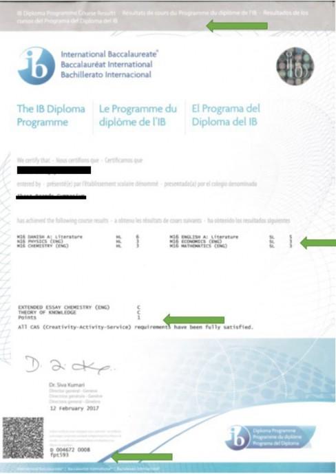 Officielt bevis for et Diploma Programme (DP) Course Results